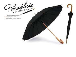 Parapluie fibre de verre et bois - noir - PL294