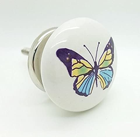 Colourful Butterfly Ceramic Door Knob Vintage Shabby Chic Cupboard Drawer Pull Handle 4533