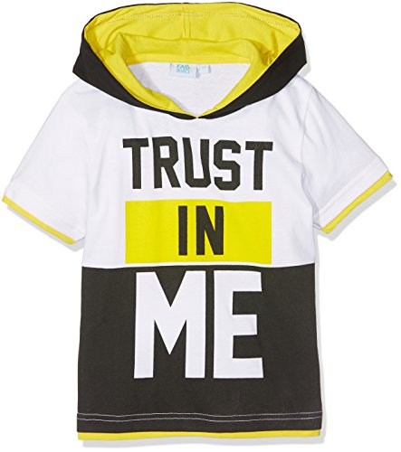 FABTASTICS Baby-Jungen T-Shirt mit Kapuze, Mehrfarbig (Weiss)