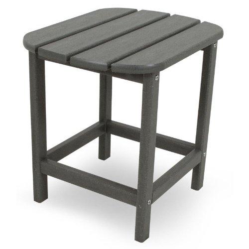 CASA BRUNO Beistelltisch 48x38x46 cm, aus recyceltem Poly-HDPE Kunststoff, schiefergrau - kompromisslos wetterfest