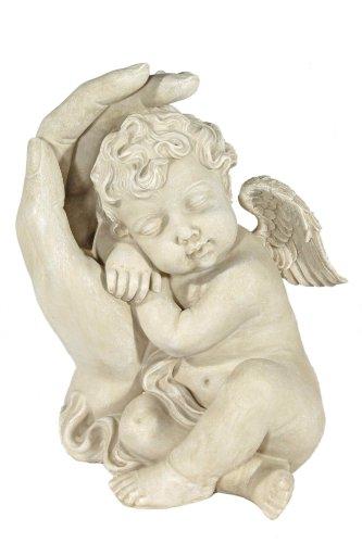 floristikvergleich.de Casa Collection 09377 schlafender Engel an linker Hand lehnend, groß, 30 cm, antikweiß