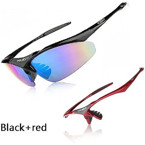 aogolouk Polarized Occhiali da sole moto ciclismo occhiali con 5lenti intercambiabili, rosso