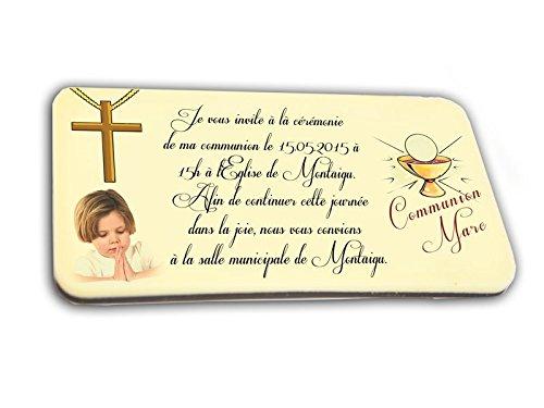CARTE D'INVITATION en chocolat thème CALICE personnalisée avec votre photo et votre texte - pour baptême mariage communion - invitation en chocolat design et moderne or et ivoire