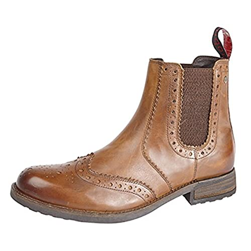 Mens Twin Gusset Brogue Ankle Boots Tan Softie Leather size 11 UK