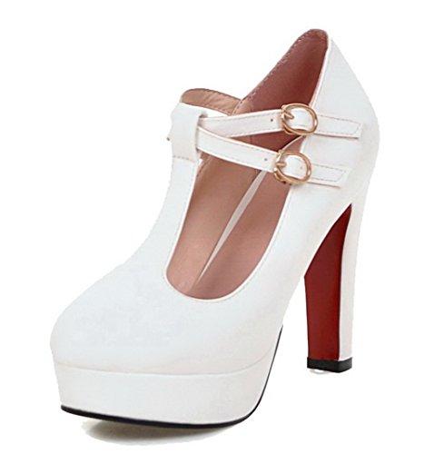 AllhqFashion Damen Weiches Material Rund Zehe Hoher Absatz Schnalle Rein Pumps Schuhe Weiß