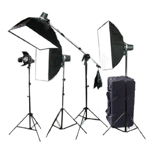 CowboyStudio Photo (640 Watt) 4-Monolight Strobe Flash Boom Beleuchtung Set (4-Studio Flash/Strobe, 2-Softbox, 4-Licht Stative, 1-Schwenkarm, 1-Barndoor) -