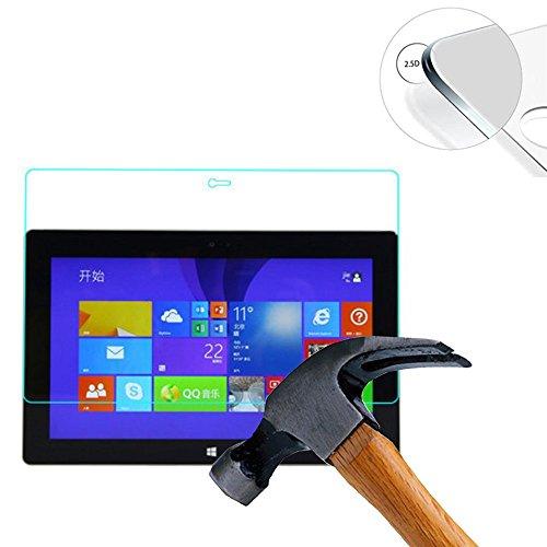 Lusee 2 x Pack Panzerglasfolie Schutzfolie für Dell Venue 11 Pro/Microsoft Surface Pro 2 10.8 Zoll Bildschirmschutz Tempered Glass Folie Screen Protector Panzerfolie Glasfolie 0,3 mm 9H Clear 2.5D
