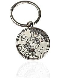 Vktech Mini Perpetual Calendar Keychain Ring Unique Metal Keyring 50 Years