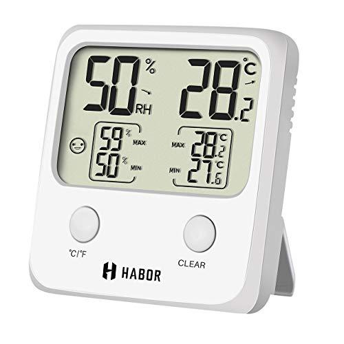 Habor Igrometro Termometro Digitale, Igrometro Digitale per Interni con Alta Precisione, Termometro LCD Wireless con l\'Icona di Comforto per Casa, Ufficio, Serra, Stanza