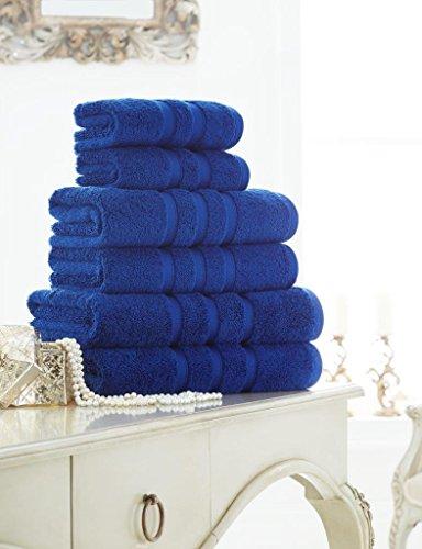 GC Collection Zero Twist 600 g/m², 100% ägyptische Baumwolle, 4 Stück Handtücher 2 Stück Badetücher 2 Stück Badetücher, Electric Blue, Hand Towel 4pc - 50cm x 85cm Approx -