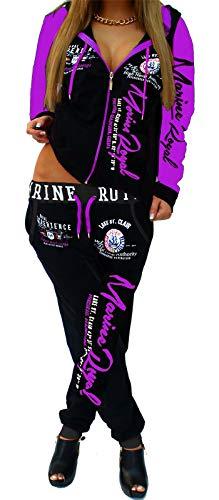 Jaylvis Damen Jogginganzug Trainingsanzug Fitnessanzug Hose und Jacke Schlafanzug Pyjama Arms (Schwarz-Lila, XXS (fällt groß aus: 34)) (Lila Jacke)