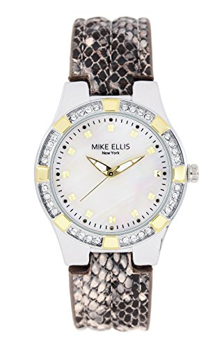 Mike Ellis New York Damen-Armbanduhr Luxury Analog Quarz Leder SL2968A1 (Schlange D&g)
