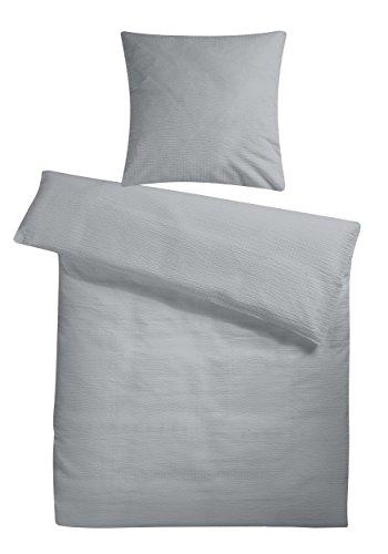 Carpe Sonno Leichter Seersucker Bettbezug 200 x 220 cm Grau – atmungsaktiver Kopfkissen- und Bettdecken-Bezug aus reiner Baumwolle mit Reißverschluss – 3 teilige kühle Paarbettwäsche in Übergröße