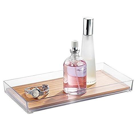 mDesign présentoir maquillage – Idéal pour rangement cosmétique – Plateau de rangement pour bijoux et produits de beauté en bambou et plastique – Petite taille