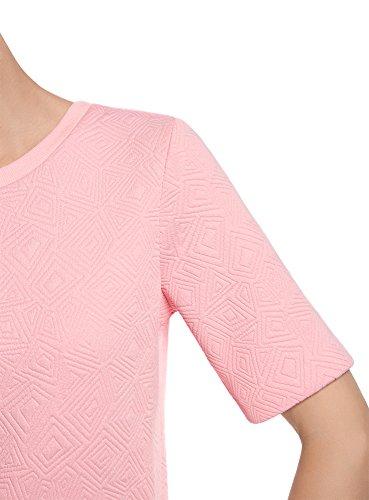 oodji Collection Femme Sweat-Shirt en Tissu Texturé à Manche Courte Rose (4000N)