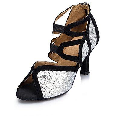 XIAMUO Women's Latin Jazz Salsa Ballroom Dance Schuhe Sandalen angepasste Ferse Herde Paillette funkelnden Glitter Silber Silber