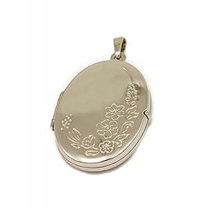 ASS 925 Silber Medaillon Anhänger Oval glanz,poliert,mit Motiv Blumenmuster gemustert, 26 mm x 19 mm