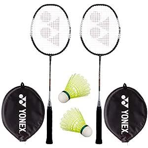 Yonex Super Value Combo (Two Yonex Badminton Racquets and 2 Pieces Shuttlecock) - Black