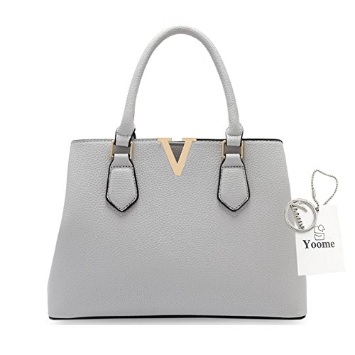 Borse per donne Yoome per le donne Crossbody Lichee Top Handle Tote Handbags di grande capacità - L.Grey L.Grey