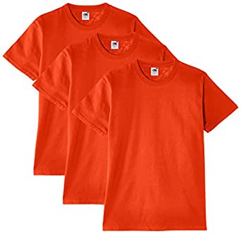 Fruit of the Loom - Heavy Cotton Tee Shirt 3 pack, T-shirt da uomo,  colore arancione, taglia Small