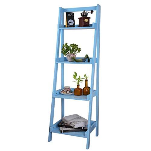 Willesego Ladder-Shaped 4 Tiers Regale Schlafzimmer Bücherregal Stand-Flower Stand Multi-Funktions-Treppenhaus Living Room Storage Organisation Rack, blau, 44 * 140cm (Farbe : -, Größe : -) -