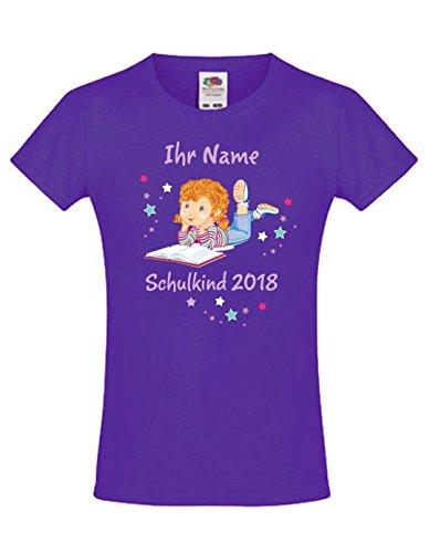 Mein Zwergenland Schulanfang T-Shirt Tailliert mit Name Mädchen mit Schulbuch Lila, Gr. 8 Jahre (118-128)