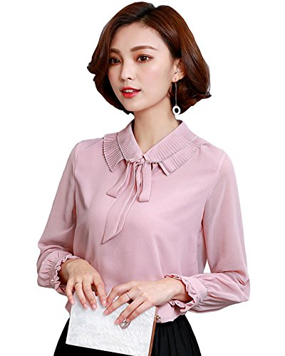 Mousseline col Arc Noeud Longues Manches Chemise Chiffon Casual Femmes Tee shirt pink