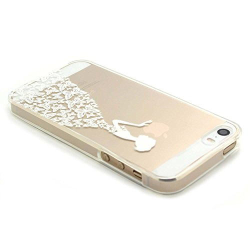 JIAXIUFEN TPU Coque - pour Apple iPhone 5 5S SE Silicone Étui Housse Protecteur - Flower Cute Girl Butterfly Girl White