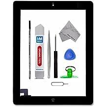 Digitalizador Pantalla táctil frontal para iPad 2 Negro de MMOBIEL. Con botón de inicio y cable flex soporte cámara adhesivos pre instalados kit de herramientas para una fácil instalación.