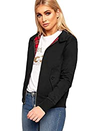 WearAll® Women's Retro Inside Tartan Lined Harrington Long Sleeve Ladies Bomber Jacket 6-12