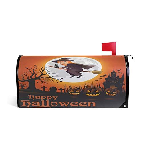 Fall Happy Halloween Welcome Magnetic Mailbox Cover Wraps Wraps, Hexe Kürbis Standard Größe Mailwrap für Outdoor Garten Home Decor