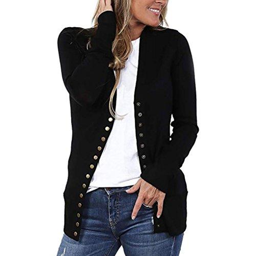 BHYDRY Frauen V-Ausschnitt Button-Down-Strickwaren Langarm-Strickpullover Shirt Top Bluse(S,Schwarz)