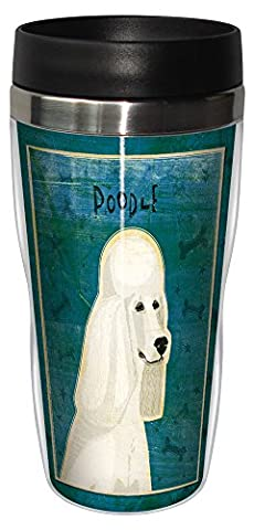 Tree-Free Greetings sg23990 White Poodle by John W. Golden 16-Ounce Sip 'N Go Stainless Steel Lined Travel Tumbler by Tree-Free Greetings