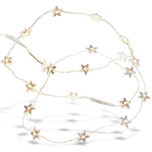 Loberon Lichterkette Stars, Weihnachten, Kunststoff, Draht, silber