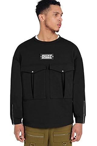 SHADE London Mens Black Logo Combat Oversized Pocket Pullover Sweatshirt