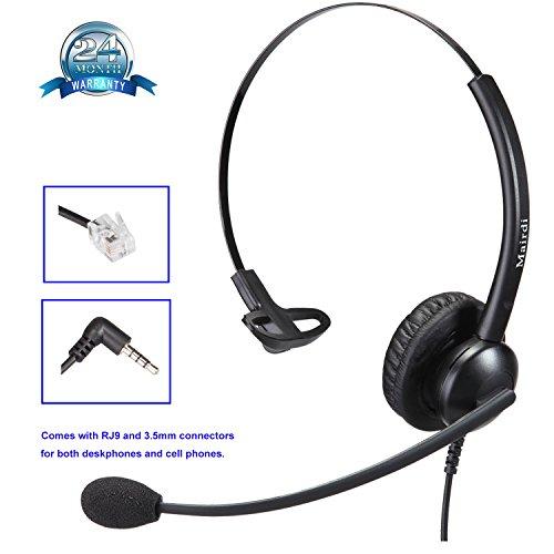 Cisco Telefon Headset RJ Call Center Kopfhörer für Cisco Telefon festnetz Headset Kopfhörer mit rauschunterdrückung Noise Cancelling Mikrofon mit zwei Klinke RJ und 3.5mm für Cisco und Mobiltelefone