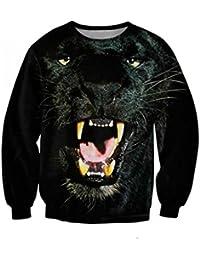 Ninimour Sudaderas estampado de mangas largas animal Digital Print Sweatshirt