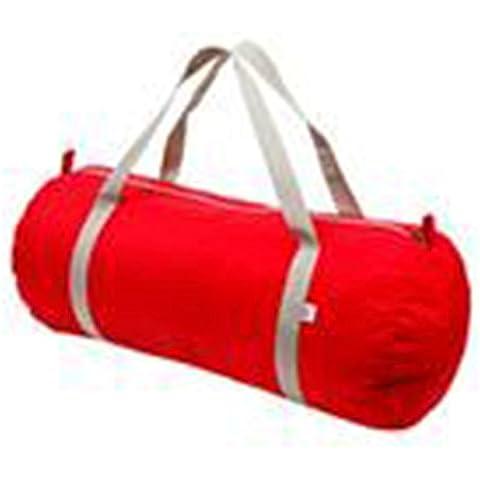 Gamuza de bolsa de nailon con cremallera unidades resistente al agua doble asas American Apparel, color Red / Silver, tamaño talla