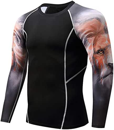 KPILP Men T Shirt Long Sleeve Yoga Fitness Print Casual T Shirt Sport Workout Training Jogging Comfortable Top Blouse
