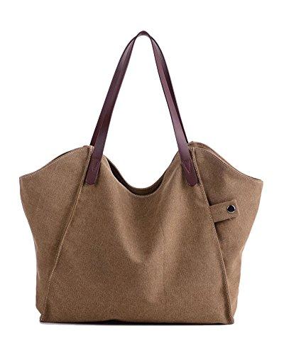 Damen Shopper Handtasche Hohe Kapazität Schultertasche Beutel Canvas Weiß Braun