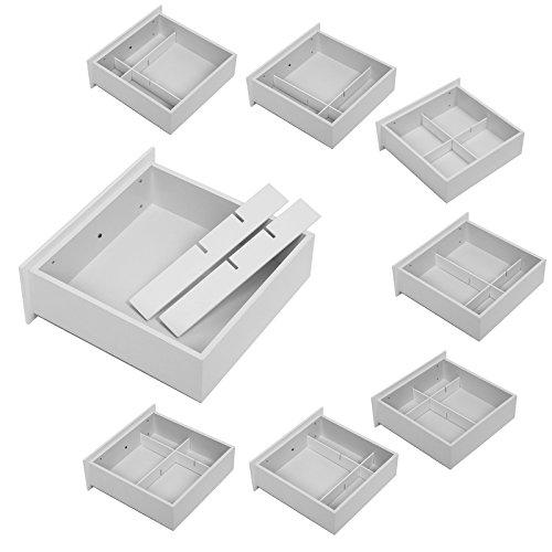 Songmics Schminktisch 3 Spiegel mit Hocker u. 4 Schubladen inkl. 2 Stück Unterteiler, Kippsicherung,weiß RDT07W - 8