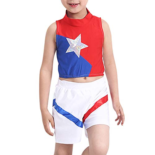 Gtagain Kinder Cheerleading Uniform - Cheerleader Kostüm Student Unisex-Kinder Tanz Performance Oberteile Rock Oder Kurze Hosen ()