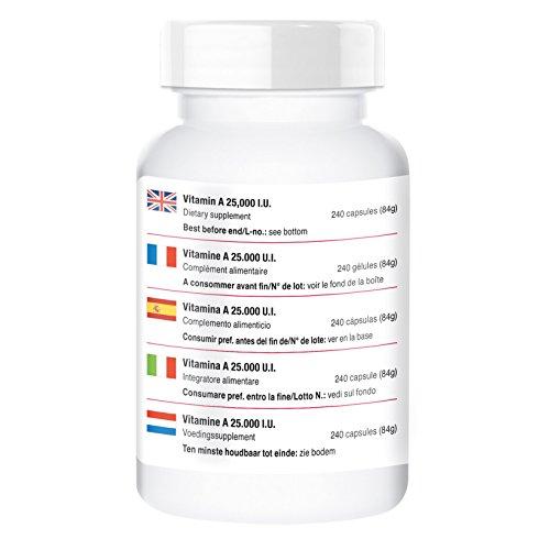 Vitamin A 25000 IU, retinyl acetate, vegan, 240 capsules