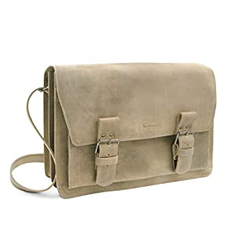 Made in Germany Umhängetasche – Messenger Bag PRAGUE aus braunem new antik Leder inkl. BIO-Lederpflege von THIELMANN