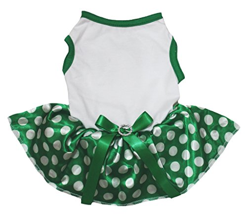 Petitebelle Dog Dress Plain White Cotton Polka Dots Green Tutu (Large) (Green Polka Dots)