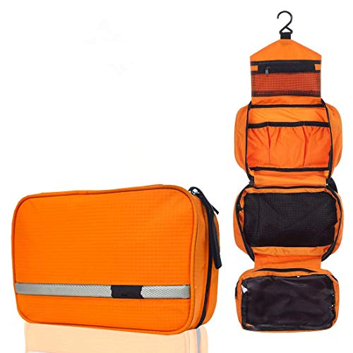 Neceser de Viaje Hombre Mujer/Neceser Maquillaje/Bolsa de aseo bolso Maquillaje Organizador/bolso cosmético/Organizadores de viaje/Bolsa para lavar/Cosméticos/Makeup Bolsa/Toiletry Bag (Naranja)