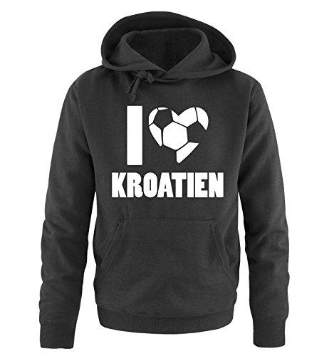 I LOVE KROATIEN – Herren Hoodie – Schwarz / Weiss Gr. L