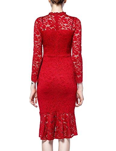 Damen Langarm Spitzen Kleider, Disbest Elegantes Vintage 1950er Jahre Stil Rundhals Knielang Fishtail Cocktailkleider Abendkleider Fishtail Rot