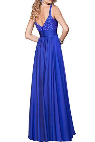 Promgirl House Damen 2016 Elegant A-Linie Traeger Chiffon Abendkleider Party Ballkleider Lang Lila
