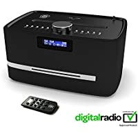 Castle DAB/DAB+ Digital FM Radio Bluetooth Wireless CD Player Micro Compact Stereo Speaker System - Remote Control - Dual USB Charging (Black)
